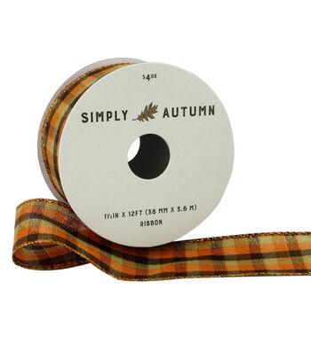 Simply Autumn Ribbon 1.5''x12'-Fall Plaid