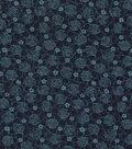 Vintage Cotton Fabric 43\u0022-Floral Outline Blue