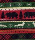 Christmas Cotton Fabric 43\u0022-Woodland Animal Stripe