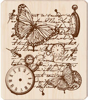 Inkadinkado Rubber Stamp-Time Flies Collage, , hi-res