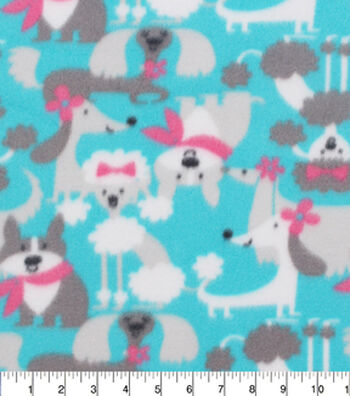 """Blizzard Fleece Fabric 59""""-Dogs With Bows And Scarfs"""