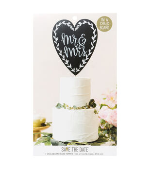 Save the Date 7.4''x6'' Chalkboard Cake Topper