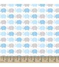 Snuggle Flannel Fabric 42\u0022-Elephant Parade Blue