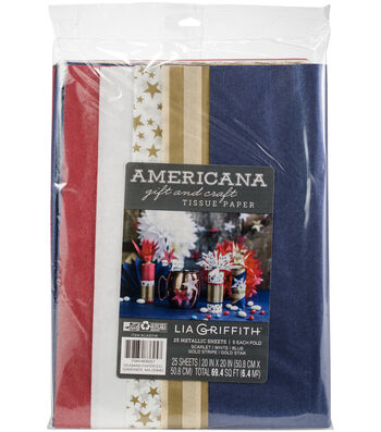 Lia Griffith 25 pk Frosted Gift & Craft Tissue Papers-Americana