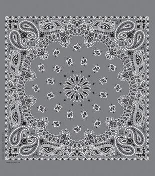 Cotton Bandanna 21''x21''-Paisley on Charcoal