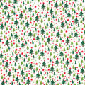 Christmas Cotton Fabric-Trees with Scattered Glitter