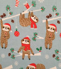 Doodles Christmas Interlock Cotton Fabric -Holiday Sloth