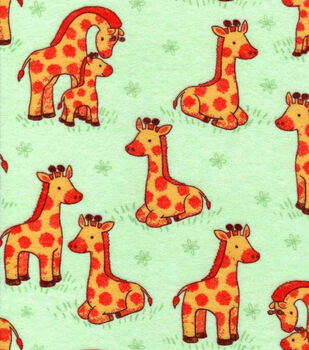 Snuggle Flannel Fabric -Baby & Momma Giraffe
