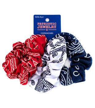 hildie & jo Patriotic Jewelry 3 pk Scrunchies-Bandana Print