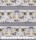 Snuggle Flannel Fabric-Stripe Moose With Ivory Check