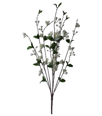 Blooming Holiday Christmas 29'' Flocked Berry Bush-Cream