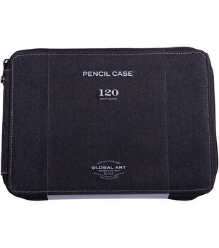 Global Art Canvas Pencil Case 7.5''x10.5''x1.5''-Black
