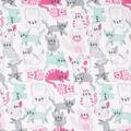 Blizzard Fleece Fabric-Mint & PinkHappy Kitty