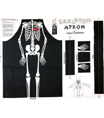 "Halloween Cotton Fabric 44""-Skeleton Apron Panel"