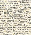 Patriotic Cotton Fabric 43\u0027\u0027-State Names on Cream