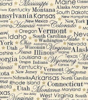 Patriotic Cotton Fabric 43''-State Names on Cream