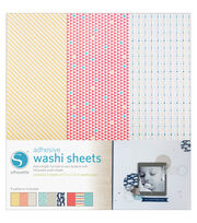 "Silhouette Adhesive-Back Washi Paper 12""X12"" 3/Pkg-9 Designs, Each 4""X12"", , hi-res"
