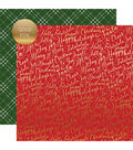 Merry & Bright Gold Foiled Double-Sided Cardstock 12\u0022X12\u0022-Jolly Words
