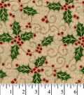 Christmas Cotton Fabric -Holly with Glitter