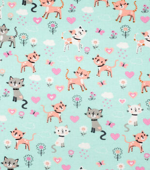 Super Snuggle Flannel Fabric-Spotted Kitties & Hearts