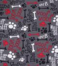 Blizzard Fleece Fabric-Grr Ruff on Gray, Red & Black