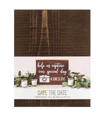 Save the Date 8''x10'' Wood Block Centerpiece