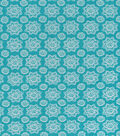 Simply Silky Print Rayon Fabric -Teal Geo Floral