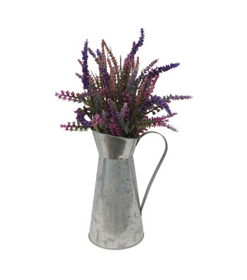 Fresh Picked Spring 16.5'' Lavenders in Galvanized Pitcher