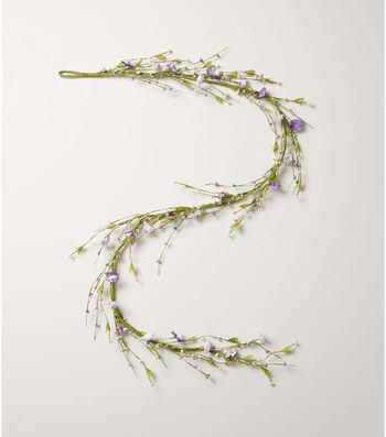 Fresh Picked Spring 66'' Blossom & Berry Garland-Purple