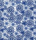 Keepsake Calico Cotton Fabric -Navy Florals on Paper White
