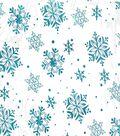 Glitterbug Organza Fabric 57\u0022-Foil Snowflakes Teal
