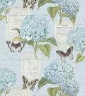 Premium Cotton Fabric-Blue Hydrangeas & Butterflies