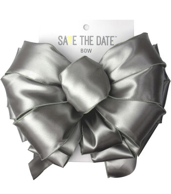 """Save the Date 2.5"""" Bow-Light Grey Satin"""