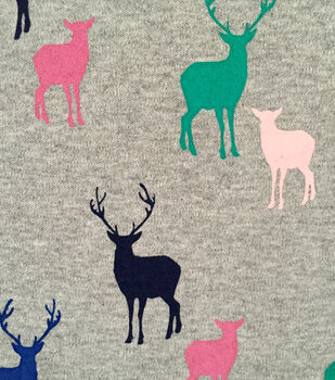 Doodles Cotton Fabric -Multi-Colored Deer