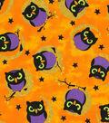 Halloween Cotton Fabric -Moonlight Owl Glitter