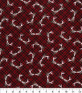Christmas Cotton Fabric 43\u0022-Tossed Antlers Plaid