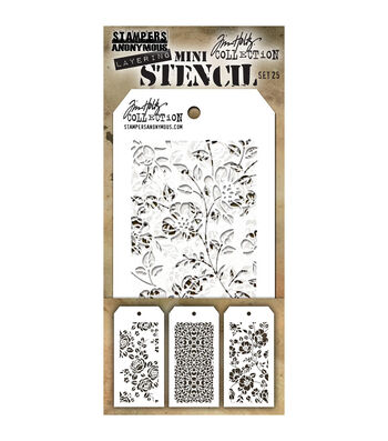 Stampers Anonymous Tim Holtz 3 Pk Mini Layering Stencil Set #25