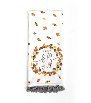 Simply Autumn 16''x26'' Towel with Trim-Leaves & Happy Fall Y'all