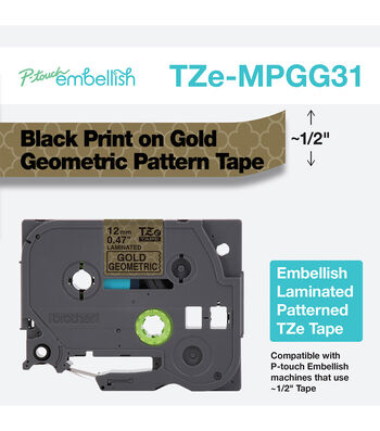 P-touch Embellish Black Print on Gold Geometric Pattern Tape