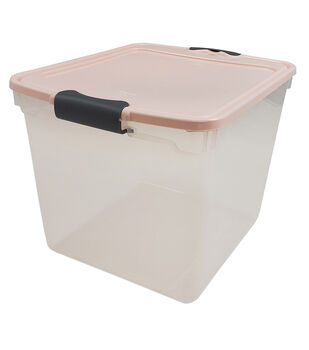 Homz 31 Quart Storage Container with Pearl Lid & Silver Latches