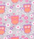 Blizzard Fleece Fabric -Warm Owls on Gray