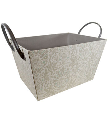 Large Laundry Storage Fabric Bin with Leather Handle-Floral