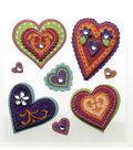 Colorful Stitched Hearts