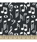 Snuggle Flannel Fabric 42\u0022-Music Notes Black