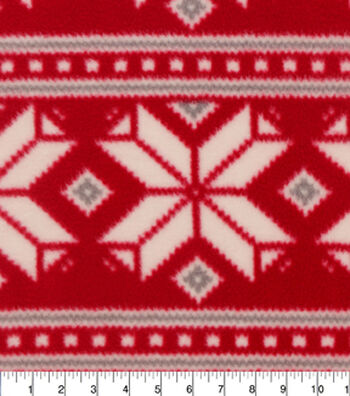 """Anti-Pill Fleece Fabric 59""""-Red Ground With Grey Nordic"""