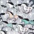 Super Snuggle Flannel Fabric-Running Tribal Horses