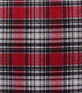 Anti-Pill Plush Fleece Fabric-Gray Red Distressed Plaid