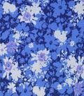 Premium Cotton Fabric-Maeve Blue Splatter Flowers