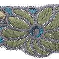 Wrights Thick Yarn Embroidered Trim 2\u0027\u0027-Blue & Green Floral