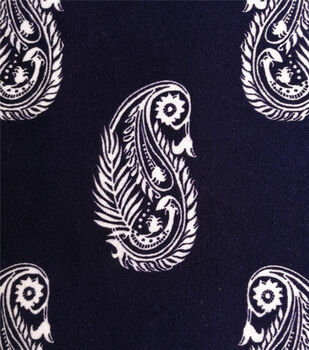 Double Brushed Poly Printed Knit Fabric-White Paisleys on Navy